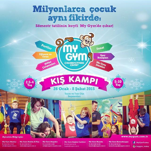 Sömestr keyfi My Gym'de çıkar! 26 Ocak-8 Şubat 2015 tarihleri arasında yarım ve tam gün seçenekleri ile tüm çocukları My Gym Kış Kampına bekliyoruz. Daha fazla bilgi almak ve size en yakın My Gym şubesini öğrenmek için www.mygym.com.tr #mygym #mygymturkey #çocuk #oyun #tatil #sömestr #kamp #parti #sanat #eğlence #spor #doğumgünü @mygym_atasehir @mygym.akatlar @mygymkemerburgaz @mygymbuyaka @mygymatakoy @mygym.bahcesehir @mygymbursa @mygymbagdatcaddesi